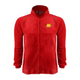 Fleece Full Zip Red Jacket-Bulldog Head Peeking