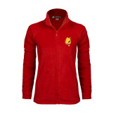 Ladies Fleece Full Zip Red Jacket-Bulldog Head