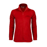 Ladies Fleece Full Zip Red Jacket-Arched FSU
