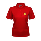 Ladies Red Dry Mesh Polo-Bulldog Head