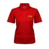 Ladies Red Dry Mesh Polo-Arched FSU
