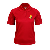 Ladies Red Textured Saddle Shoulder Polo-Bulldog Head
