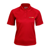 Ladies Red Textured Saddle Shoulder Polo-#FerrisStrong