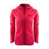 Ladies Tech Fleece Full Zip Hot Pink Hooded Jacket-Arched FSU