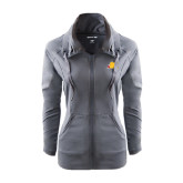 Ladies Sport Wick Stretch Full Zip Charcoal Jacket-Bulldog Head Peeking