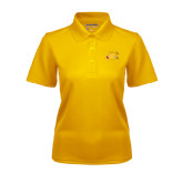 Ladies Gold Dry Mesh Polo-Bulldog Head Peeking