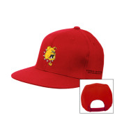 Red Flat Bill Snapback Hat-Bulldog Head