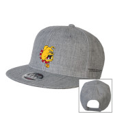 Heather Grey Wool Blend Flat Bill Snapback Hat-Bulldog Head