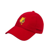 Red Twill Unstructured Low Profile Hat-Bulldog Head