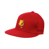 Red OttoFlex Flat Bill Pro Style Hat-Bulldog Head