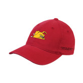 Red OttoFlex Unstructured Low Profile Hat-Bulldog Head Peeking