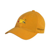 Gold Twill Unstructured Low Profile Hat-Bulldog Head Peeking