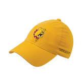 Gold Flexfit Mid Profile Hat-Bulldog Head