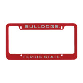 Metal Red License Plate Frame-Bulldogs