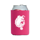 Collapsible Hot Pink Can Holder-Bulldog Head