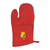 Quilted Canvas Red Oven Mitt-Bulldog Head
