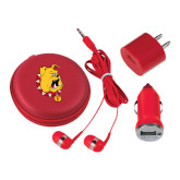 3 in 1 Red Audio Travel Kit-Bulldog Head
