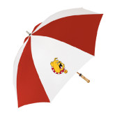62 Inch Red/White Umbrella-Bulldog Head