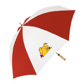 62 Inch Red/White Umbrella-Bulldog Head Peeking