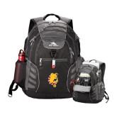 High Sierra Big Wig Black Compu Backpack-Bulldog Head