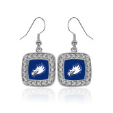 Crystal Studded Square Pendant Silver Dangle Earrings-Eagle Head