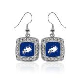 Crystal Studded Square Pendant Silver Dangle Earrings-Eagle Head