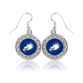 Crystal Studded Round Pendant Silver Dangle Earrings-Eagle Head