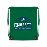 Kelly Green Drawstring Backpack-Regular Season Champions 2017 Mens Basketball Half Ball Design