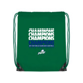 Nylon Kelly Green Drawstring Backpack-Regular Season Champions 2017 Mens Basketball Champions Repeating