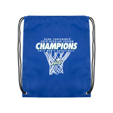 Nylon Royal Drawstring Backpack-Regular Season Champions 2017 Mens Basketball Net Design