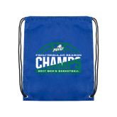 Royal Drawstring Backpack-Regular Season Champions 2017 Mens Basketball Half Ball Design