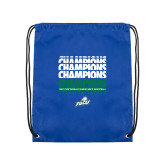 Royal Drawstring Backpack-Regular Season Champions 2017 Mens Basketball Champions Repeating