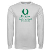 White Long Sleeve T Shirt-University Mark Stacked