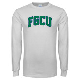 White Long Sleeve T Shirt-Arched FGCU