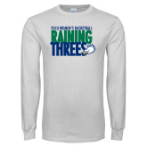 White Long Sleeve T Shirt-Raining Threes