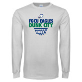 White Long Sleeve T Shirt-Dunk City Stacked w/ Net