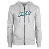ENZA Ladies White Fleece Full Zip Hoodie-FGCU