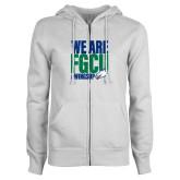 ENZA Ladies White Fleece Full Zip Hoodie-We Are FGCU