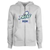 ENZA Ladies White Fleece Full Zip Hoodie-Beach Volleyball