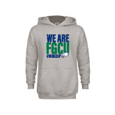 Youth Grey Fleece Hood-We Are FGCU