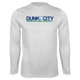 Performance White Longsleeve Shirt-Dunk City Official Logo