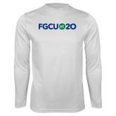 Performance White Longsleeve Shirt-FGCU at 20 Flat