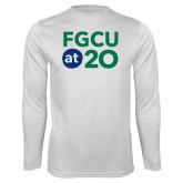 Performance White Longsleeve Shirt-FGCU at 20 Stacked