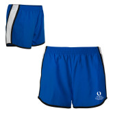 Ladies Royal/White Team Short-University Mark Stacked
