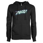 ENZA Ladies Black Fleece Full Zip Hoodie-FGCU