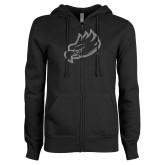 ENZA Ladies Black Fleece Full Zip Hoodie-Eagle Head Glitter