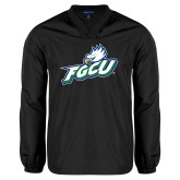 V Neck Black Raglan Windshirt-Primary Athletic Mark