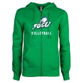 ENZA Ladies Kelly Green Fleece Full Zip Hoodie-Volleyball