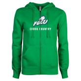 ENZA Ladies Kelly Green Fleece Full Zip Hoodie-Cross Country