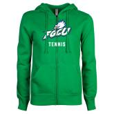 ENZA Ladies Kelly Green Fleece Full Zip Hoodie-Tennis